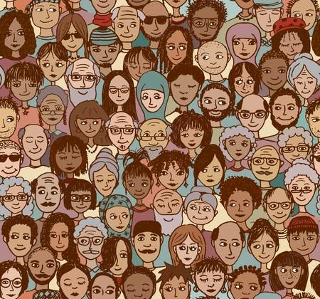 människor: Diverse skara människor - seamless av handritade ansikten från olika åldersgrupper, etniska och religiösa bakgrunder