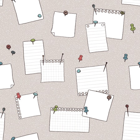 pin board: Hand drawn seamless pattern of pin board, pins, needles, and empty note papers