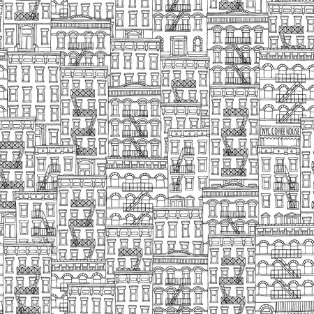 Seamless pattern of New York style houses with fire escape stairs Stok Fotoğraf - 57591830