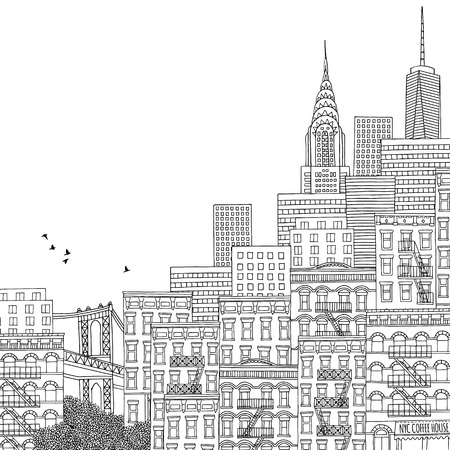 Hand drawn houses of New York City