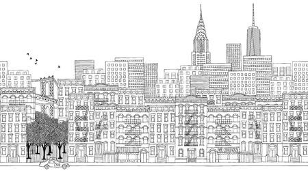 Hand drawn panorama banner of New York City