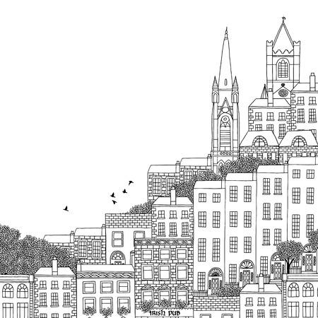 irish cities: Dublin  Ireland - hand drawn black and white illustration