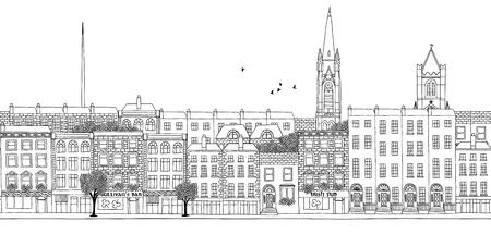 dublin: Dublin - seamless banner of Dublins skyline, hand drawn black and white illustration