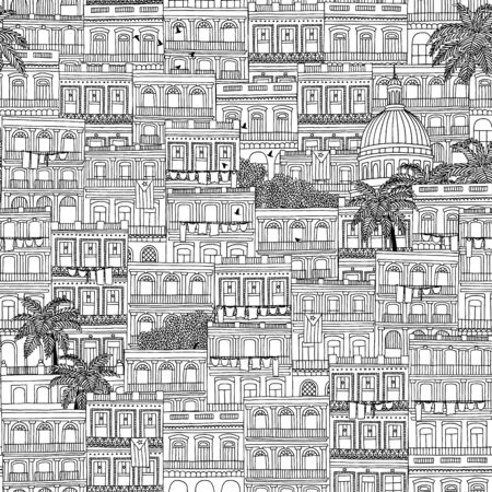 a tile: Hand drawn seamless pattern of Cuban style houses and the Capitol building in Havana