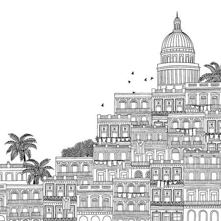 havana cuba: Havana, Cuba - hand drawn black and white illustration