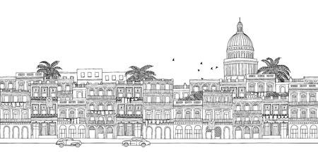 Havana, Cuba - seamless banner of Havana's skyline, hand drawn black and white illustration