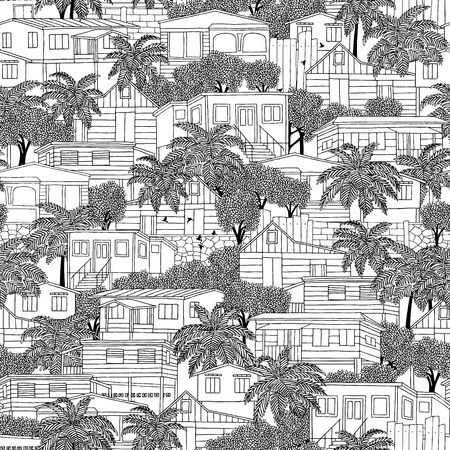 Hand drawn seamless pattern of Caribbean wooden stilt houses and palm trees