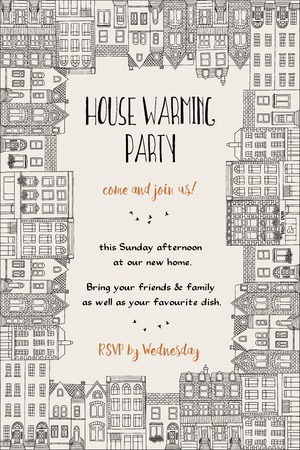 classic house: House warming party invitation - hand drawn card template framed with little cute houses