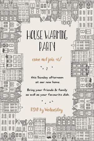 Invitación a fiesta de inauguración de la casa: plantilla de tarjeta dibujada a mano enmarcada con pequeñas casas Ilustración de vector