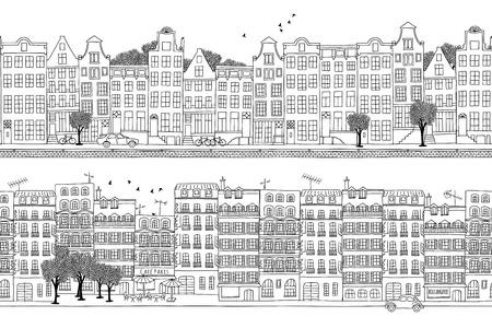 Twee hand getrokken naadloze stad banners - Amsterdam en Parijs stijl huizen Stock Illustratie