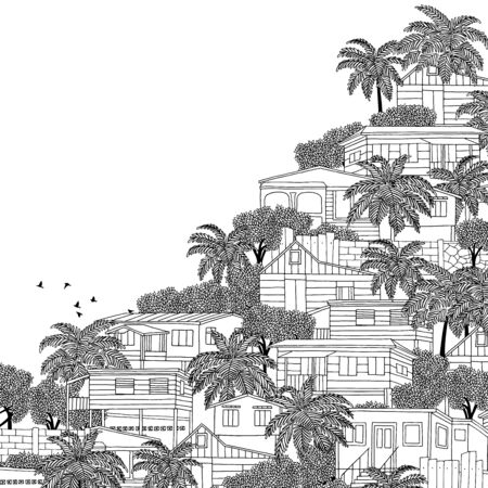 colonial house: Hand drawn black and white illustration of a Caribbean village with wooden stilt houses