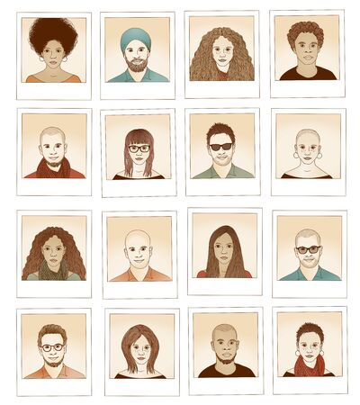 bald woman: Collection of hand drawn photographs