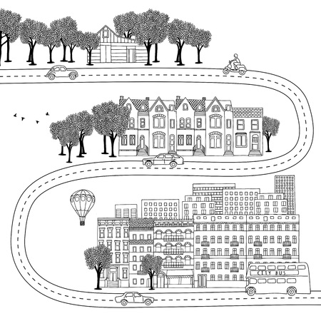 urban jungle: Hand drawn illustration of different lifestyles - village, town and big city