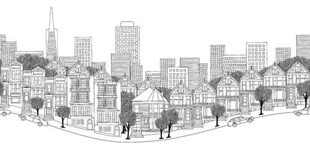 샌프란시스코, 미국 - 샌프란시스코의 스카이 라인의 원활한 배너, 손으로 흑백으로 그린 그림