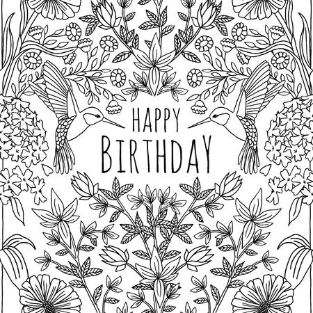 Hand drawn birthday card design with humming birds and flowers Stock Vector - 60560499