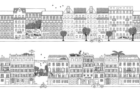 skyline city: Two hand drawn seamless city banners - Berlin and Rome style houses Illustration