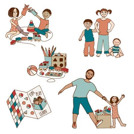 Set klein und niedlich Hand gezeichnete Illustrationen von Kindern und Spielzeug