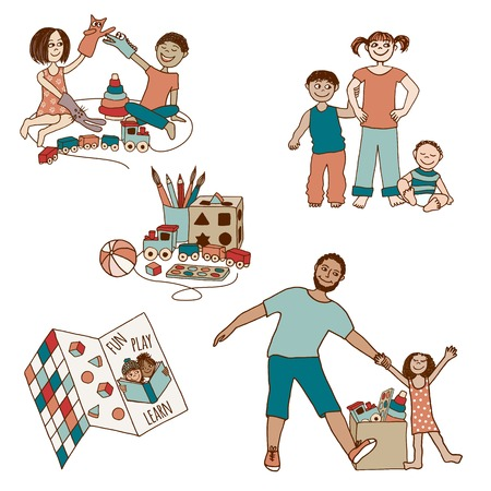 small children: Set of small and cute hand drawn illustrations of children and toys Illustration