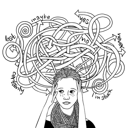 woman headache: Confused decision making girl, black and white ink illustration