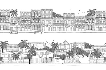 trinidad and tobago: Two hand drawn seamless banners with Caribbean homes - Cuban houses and a little village in Trinidad & Tobago