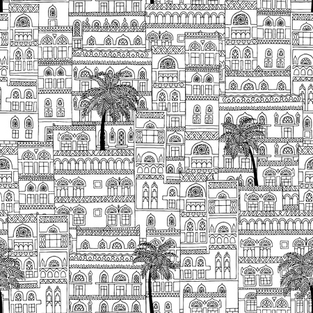 arabesque pattern: Hand drawn seamless pattern of arabesque houses with palm trees