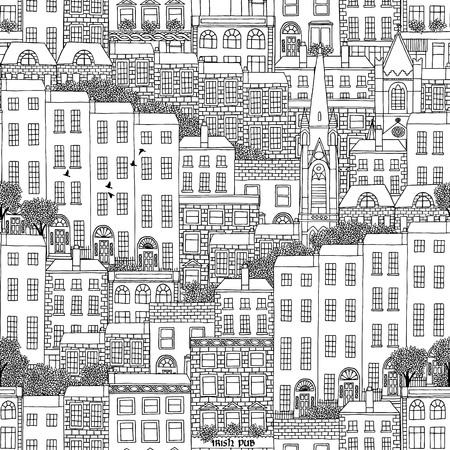 irish cities: Hand drawn seamless pattern of Irish style houses Illustration