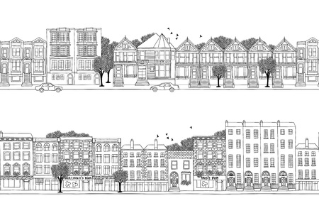 urbane: Two hand drawn seamless city banners with Victorian style houses