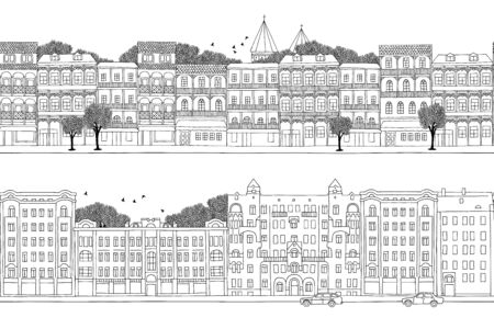 georgian: Two hand drawn seamless city banners - Russian and Georgian style houses