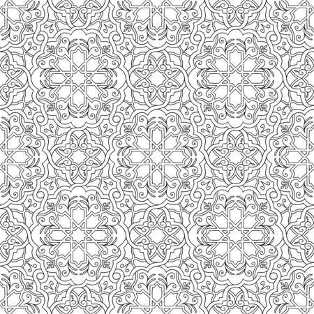 arabesco: dibujado a mano sin patrón arabesque blanco y negro Vectores