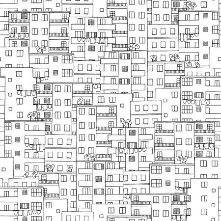 Modèle sans soudure étiré de maisons du Moyen-Orient avec des antennes paraboliques (comme au Caire, Egypte)