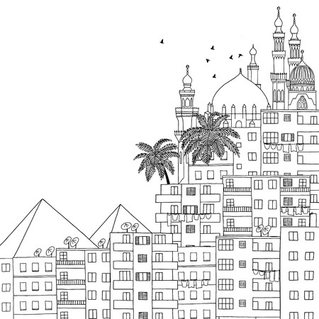 cairo: Cairo, Egypt, hand drawn black and white illustration with space for text Illustration