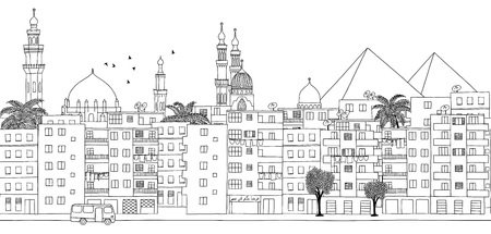 Cairo, Egypt - seamless banner of Cairos skyline, hand drawn black and white illustration
