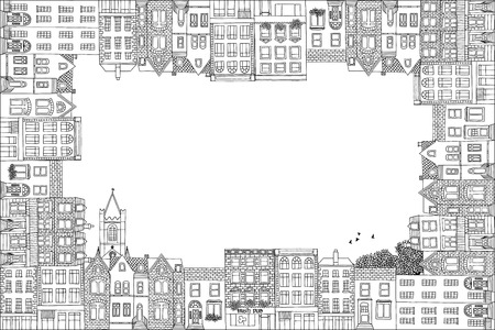 irish cities: Greeting card frame with hand drawn Irish or Victorian houses and a church