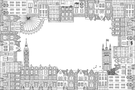 houses of parliament london: Greeting card frame with hand drawn houses of London