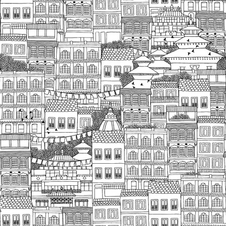 urbane: Hand drawn seamless pattern of Nepalese style houses with roofs with temple