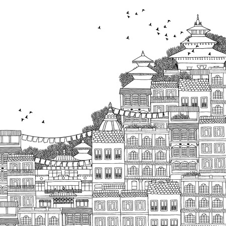urbane: Kathmandu, Nepal - hand drawn black and white illustration of Kathmandu with space for text