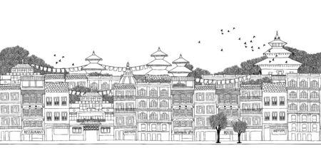 kathmandu: Kathmandu, Nepal - seamless banner of Kathmandus skyline, hand drawn black and white illustration