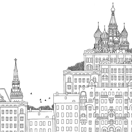 urbane: Moscow, Russia - hand drawn black and white illustration with space for text Illustration