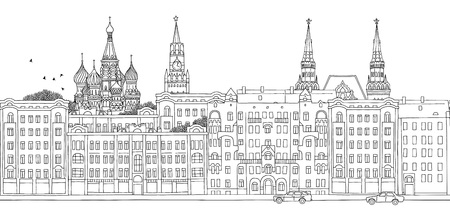 construction vehicle: Moscow, Russia - seamless banner of Moscows skyline, hand drawn black and white illustration
