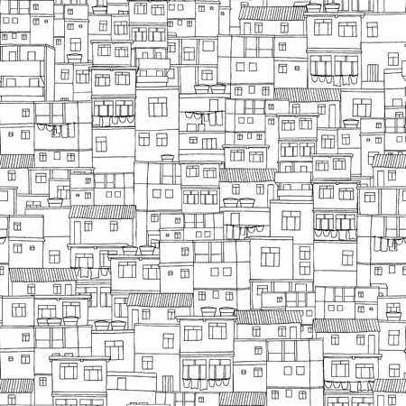 urbane: Hand drawn seamless pattern of Brazilian or Caribbean houses Illustration