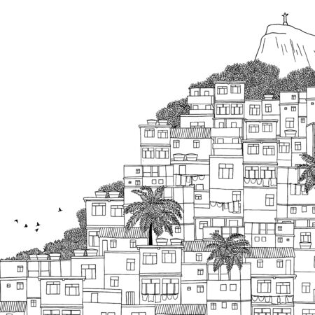 Rio de Janeiro, Brazil - hand drawn black and white illustration with space for text Illustration