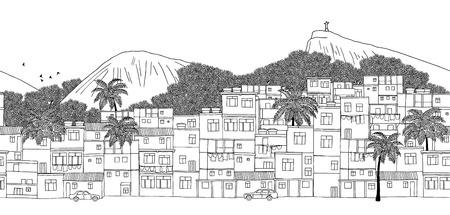 Rio de Janeiro, Brazil - hand drawn black and white illustration Иллюстрация