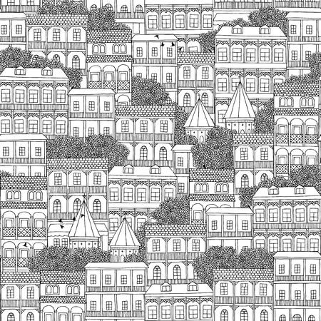 georgian: Hand drawn seamless pattern of Georgian style houses with balconies (Tbilisi)