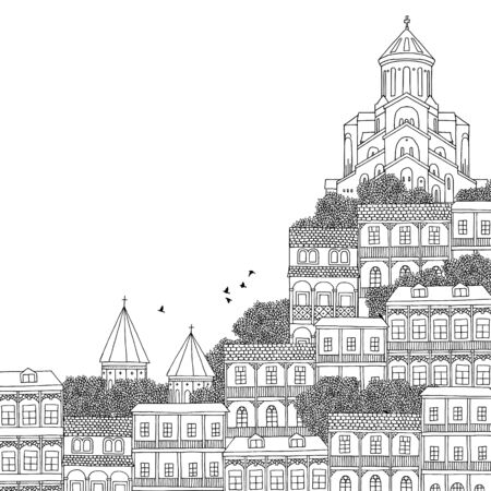 caucasus: Tbilisi, Georgia - hand drawn black and white illustration with space for text