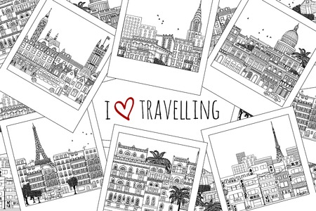 Set of hand drawn travel photographs with text