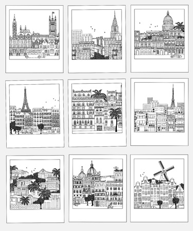 Set of hand drawn photographs with different travel destinations from around the world