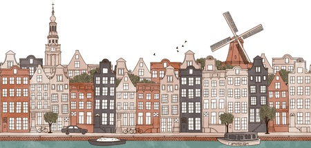 holland: Amsterdam, Netherlands - seamless banner of Amsterams skyline, hand drawn and digitally colored ink illustration