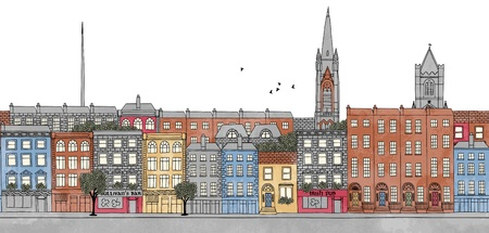 urbane: Dublin, Ireland - seamless banner of Dublins skyline, hand drawn and digitally colored ink illustration Illustration