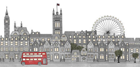 houses of parliament london: London, UK - seamless banner of Londons skyline, hand drawn and digitally colored ink illustration