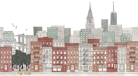 New York City - seamless banner of New Yorks skyline, hand drawn and digitally colored ink illustration Çizim